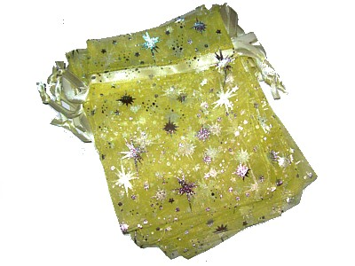 Organza Bag 10x13cm Yellow with Silver Stars