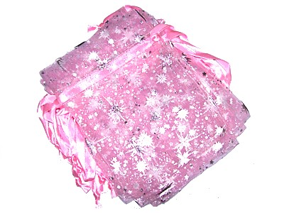 Organza Bag 13.5x10cm Pink with Stars