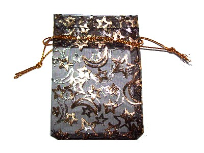 Organza Bag 5.5x8cm Black with Gold Moon and Stars