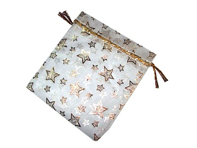 Organza Bag 12x10cm White with Gold Stars