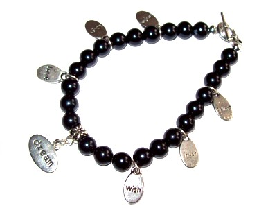 Multi Charm and Black Bead Bracelet
