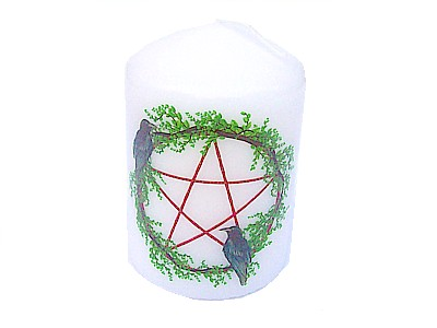 10cm Garland Pentagram & Purple Bows Decorative Candle