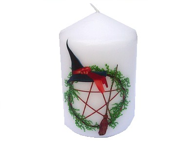 10cm Hat & Broom Pentagram Decorative Candle