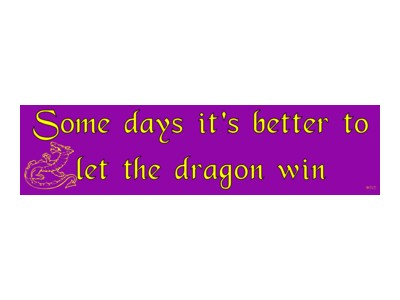 Some Days Its Better To Let The Dragon Win Bumper Sticker