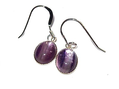 Amethyst Cabuchon Silver Earrings