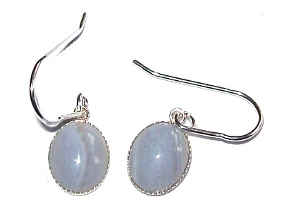 Blue Lace Agate Cabuchon Silver Earrings