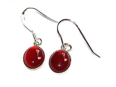 Carnelian Cabuchon Silver Earrings