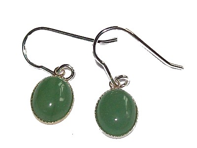 Green Aventurine Cabuchon Silver Earrings