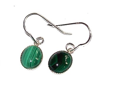 Malachite Cabuchon Silver Earrings