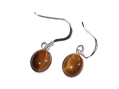 Gold Tiger Eye Cabuchon Silver Earrings