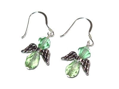 Swarovski Crystal & Silver Angel Earrings - Green