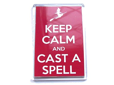 Keep Calm & Cast a Spell with Flying Witch Magnet