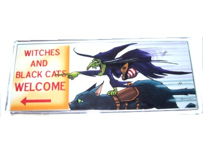 Witches and Black Cats Welcome Magnet