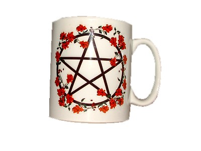 Pentacle Red Flowers Mug
